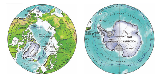 Figure 2. The left map shows the Arctic region that covers the area within the Arctic Circle, whilst the right map shows the southern polar region of Antarctica that covers the area within the Antarctic Convergence, including the Antarctic continent, the Southern Ocean and the sub-Antarctic islands. (IPCC 1997)