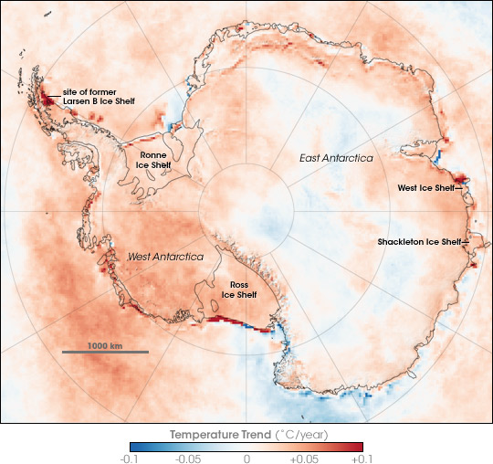 Figure 13.Temperature trends in Antarctica between 1981 andm2007, based on thermal infrared observations made by a series of NOAA satellite sensors. Author: Robert Simmon, NASA Earth Observatory.