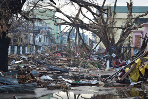 Debris in Tacloban, Philippines after devastating Typhoon Haiyan. Photo by: Trocaire/Creative Commons 2.0